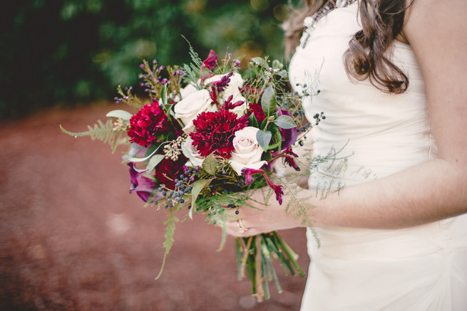 Winter Bride Bouquet: Red carnation, cream rose, fern and berry Marsala bouquet  - RedboatPhotography.net