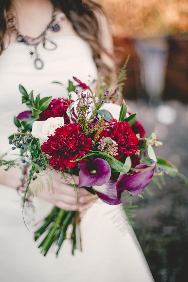Marsala Winter Wedding: Red carnation, cream rose, fern and berry Marsala bouquet  - RedboatPhotography.net