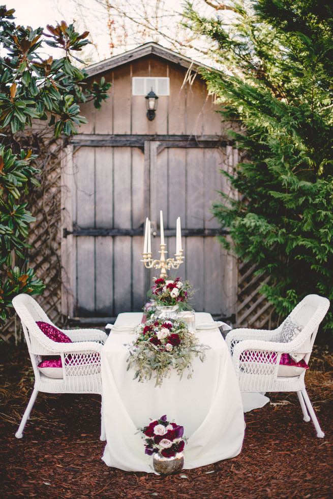 Marsala and Gold Outdoor wedding table  - RedboatPhotography.net