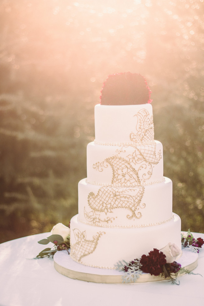 Gold white marsala wedding cake  - RedboatPhotography.net
