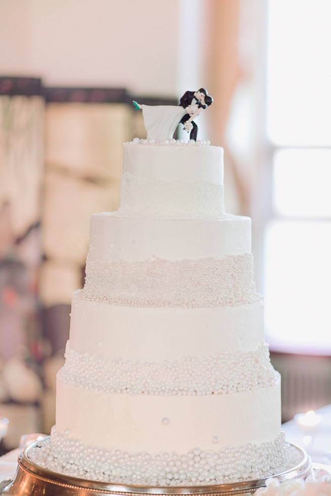 Four tier all white wedding cake with pearls - Lindsey K Photography