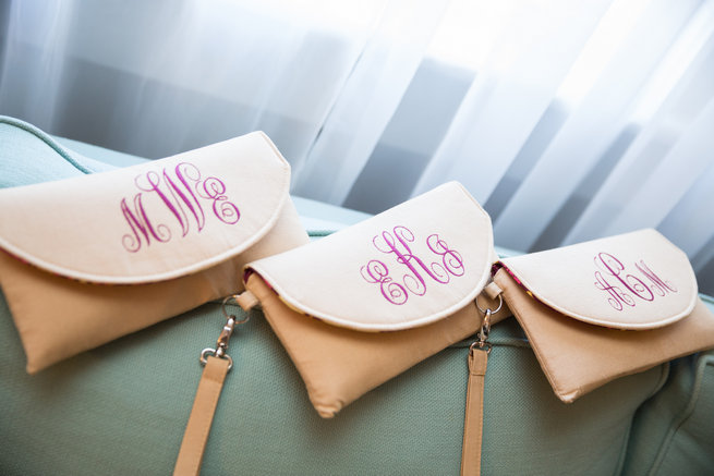 Monogrammed bridesmaid purses  - Beautiful Burgundy and Tan Wedding - Molinski Photo