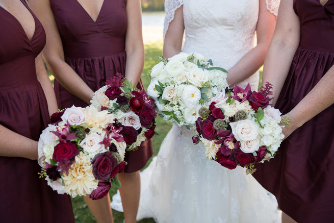 Beautiful bouquets  - Beautiful Burgundy and Tan Wedding - Molinski Photo