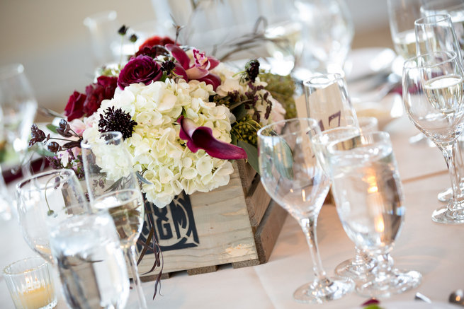 Florals in wooden crates - Beautiful Burgundy and Tan Wedding - Molinski Photo