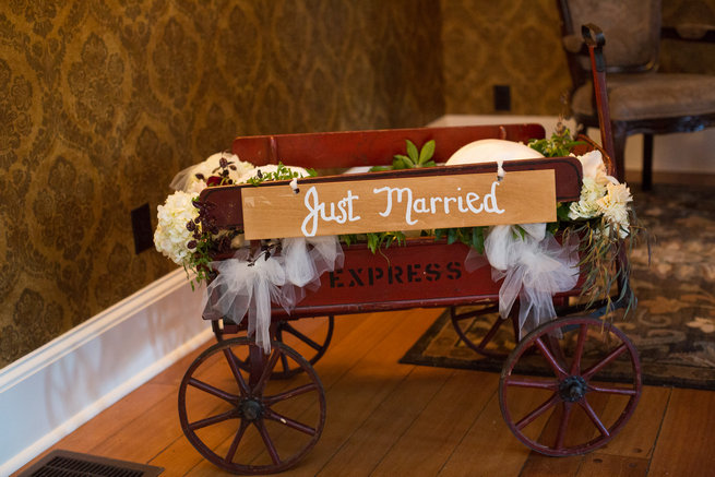 Just married wooden cart - Beautiful Burgundy and Tan Wedding - Molinski Photo