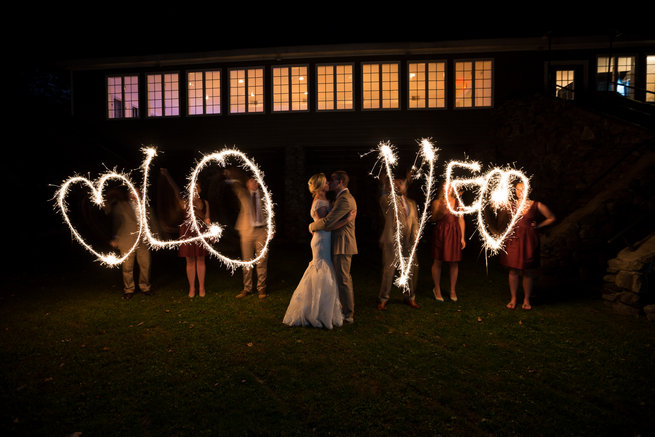 LOVE sparkler sendoff Beautiful Burgundy and Tan Wedding - Molinski Photo