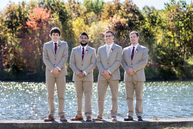 Tan and burgundy groomsmen  - Beautiful Burgundy and Tan Wedding - Molinski Photo