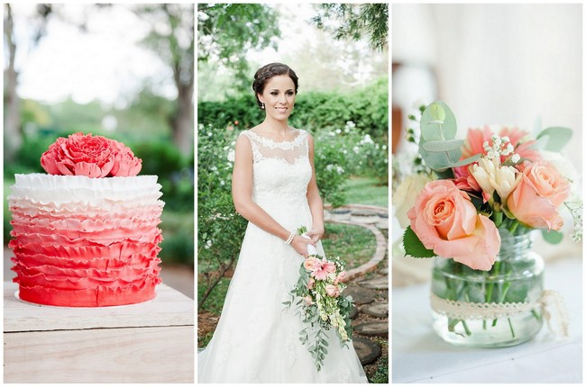 Coral and Green South African Wedding