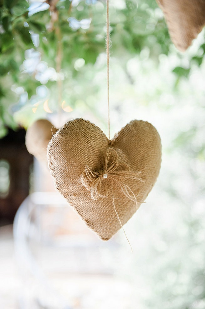 Burlap heart Coral and Green South African Wedding // D'amor Photography
