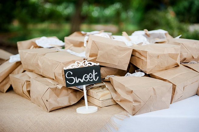 Brown paper favor bags with doily and clothes peg sweet favors / Coral and Green South African Wedding // D'amor Photography