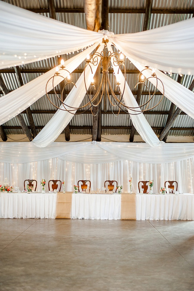 Wedding venue draping rustic / Coral and Green South African Wedding // D'amor Photography