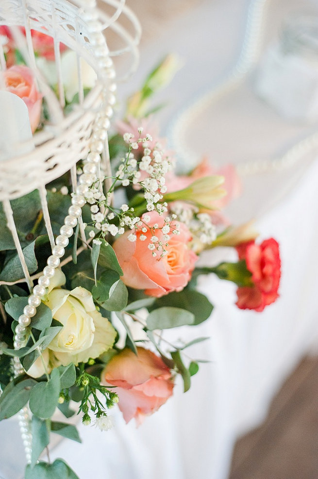 Peach and cream roses with carnations / Coral and Green South African Wedding // D'amor Photography