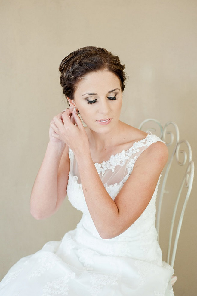 Delicate braided updo / Coral and Green South African Wedding // D'amor Photography