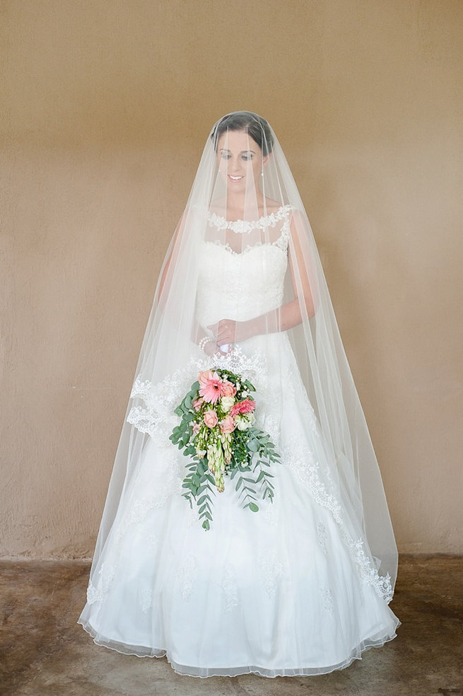 Gorgeous white wedding dress / Coral and Green South African Wedding // D'amor Photography