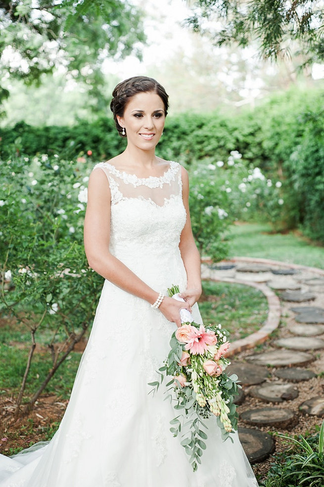 Lace wedding dress / Coral and Green South African Wedding // D'amor Photography