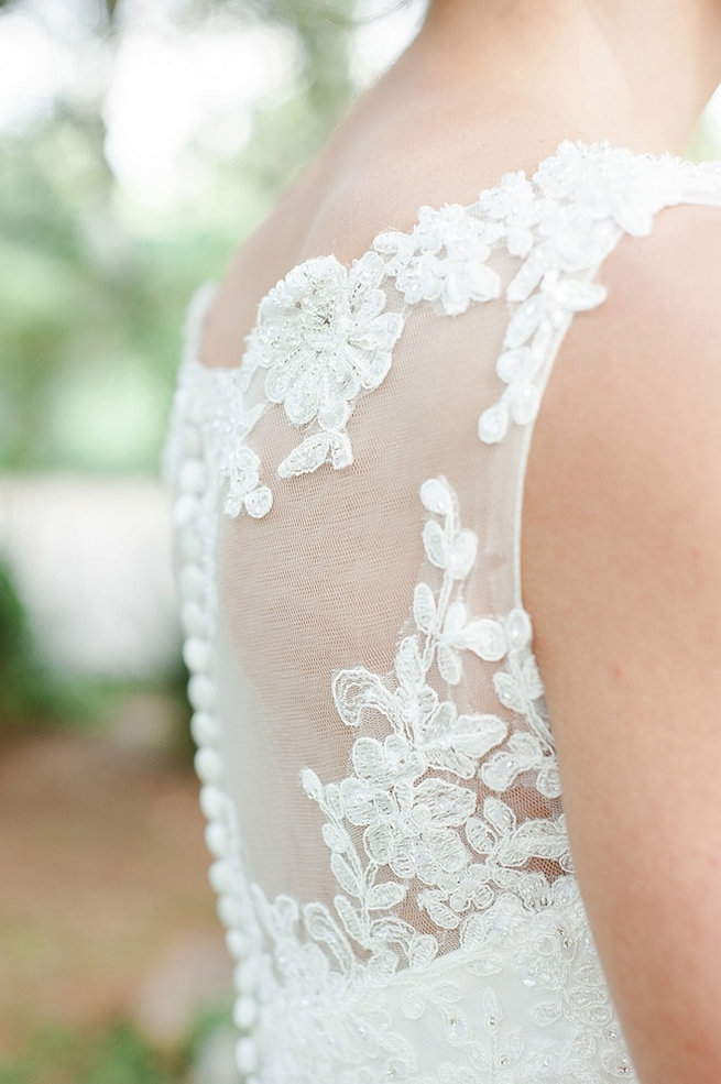 Sheer lace embellished wedding dress / Coral and Green South African Wedding // D'amor Photography