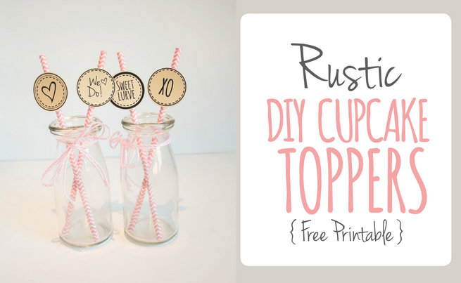 Rustic DIY Cupcake Topper Printable + Cocktail Stirrers Template {Free Download}