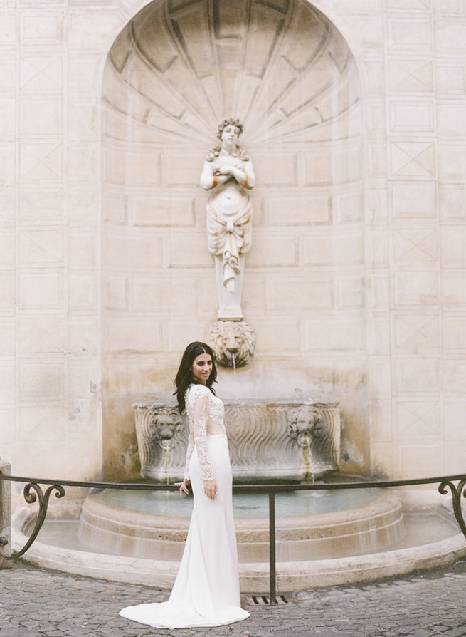 elope wedding dress. sheer long sleeved wedding dress, backless and oh so chic . elopement in rome, elope dress