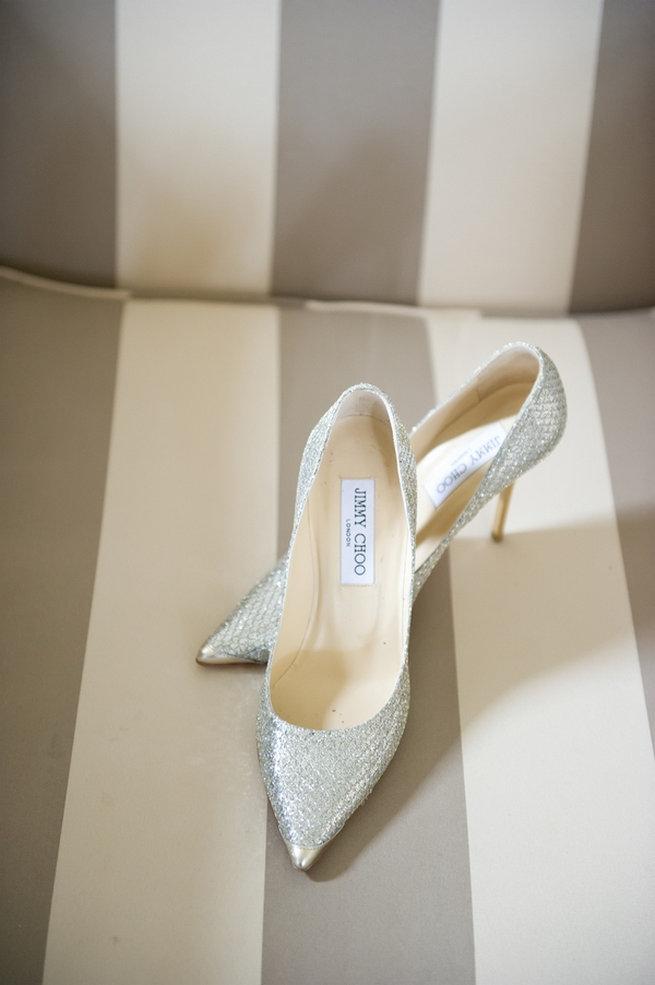 Glitter Jimmy Choo wedding shoes in silver / Blush and Gold Romantic, Glitzy Wedding - Andi Diamond Photography