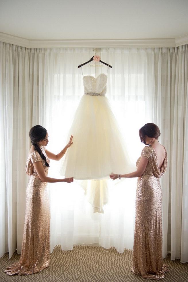 Rose Gold Badgley Mischka bridesmaid dresses in glitter / Blush and Gold Romantic, Glitzy Wedding - Andi Diamond Photography