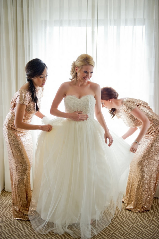 Rose Gold Badgley Mischka bridesmaid dresses in glitter / Blush and Gold Romantic, Glitzy Wedding - Andi Diamond Photography