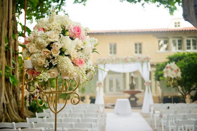 White and blush romantic wedding ceremony florals. Blush and Gold Romantic, Glitzy Wedding - Andi Diamond Photography