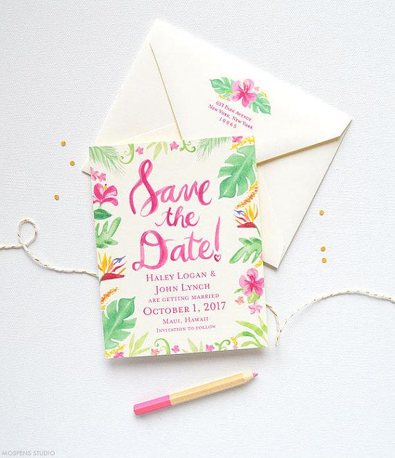 Tropical Botanical Wedding Invitation