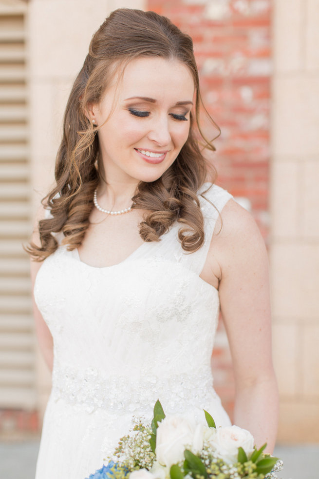 Half Up, Half Down, romantic wedding hairstyle. Modern Urban Wedding at Old Cigar Warehouse / Ryan and Alyssa Photography