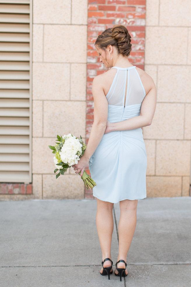 Short blue bridesmaid dress. Modern Urban Wedding at Old Cigar Warehouse / Ryan and Alyssa Photography