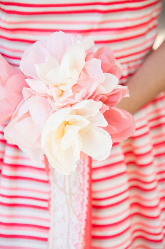 Pink and white paper bouquet. Wedding Anniversary Photo Ideas by Peterson Photography