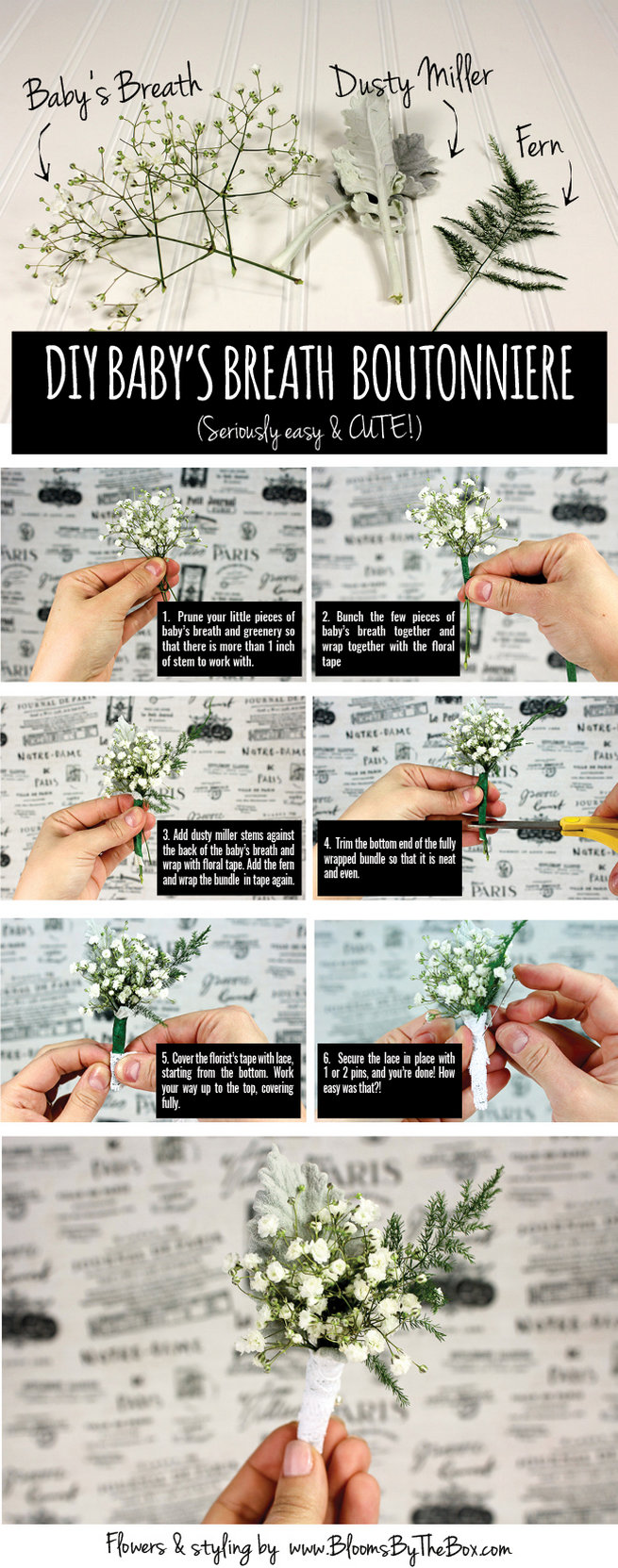 Easy DIY Babys Breath Boutonniere Tutorial