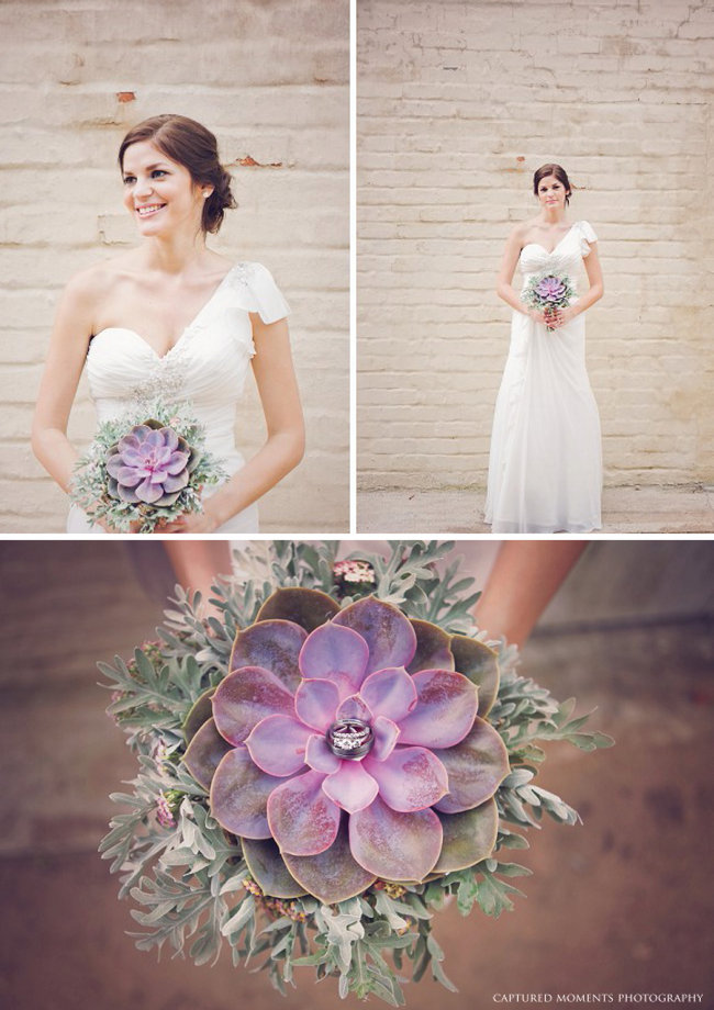 Breathtaking Wedding Bouquet: On massively marvelous succulent with dusty miller. Click to blog for more gorgeous bouquet ideas.