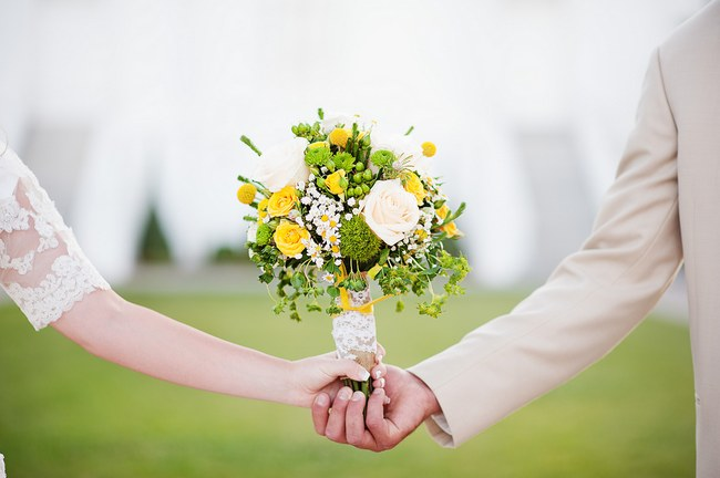 Breathtaking Wedding Bouquet Recipe: Yellow roses, white roses, yellow billies balls (crespedia), wild flowers and greens. Click to blog for more gorgeous bouquet ideas.