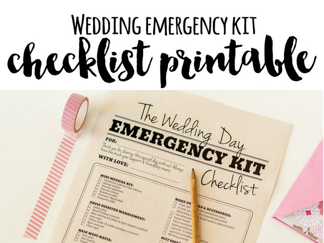 Wedding Day Emergency Kit Checklist {Free Printable}
