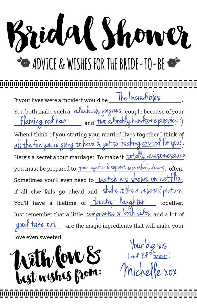 These Printable Bridal Shower Advice Cards are so fun! And it's a free download, yay!: https://confettidaydreams.com/bridal-shower-advice-cards-printable/
