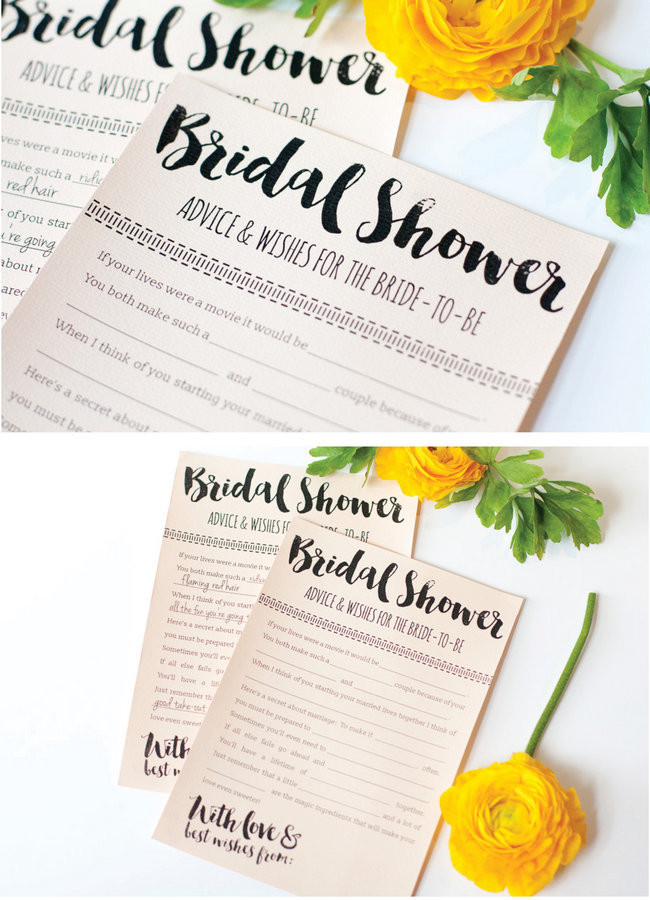 It is a photo of Dashing Free Printable Bridal Shower Advice Cards