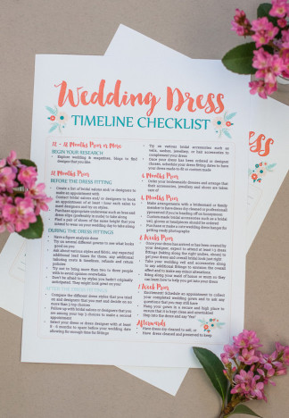 This free wedding dress planning timeline printable is a cute checklist AND printable worksheet to add wedding dress contacts & fitting details! Get it now: http://confettidaydreams.com/wedding-dress-planning-timeline