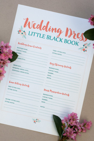 This free wedding dress planning timeline printable is a cute checklist AND printable worksheet to add wedding dress contacts & fitting details! Get it now: https://confettidaydreams.com/wedding-dress-planning-timeline