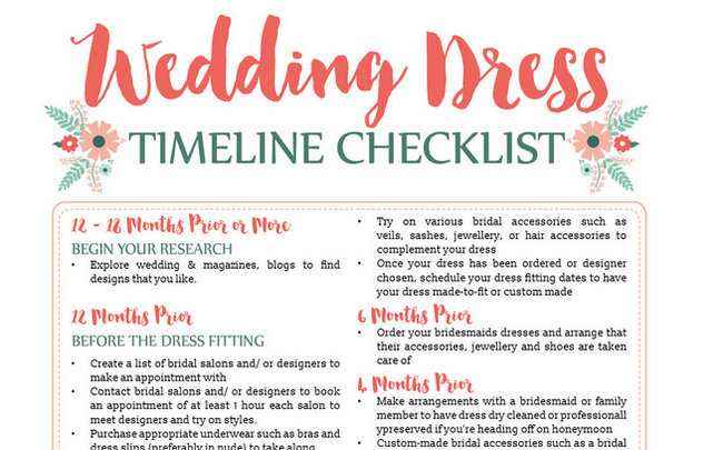 Wedding Dress Planning Timeline {Printable Download}