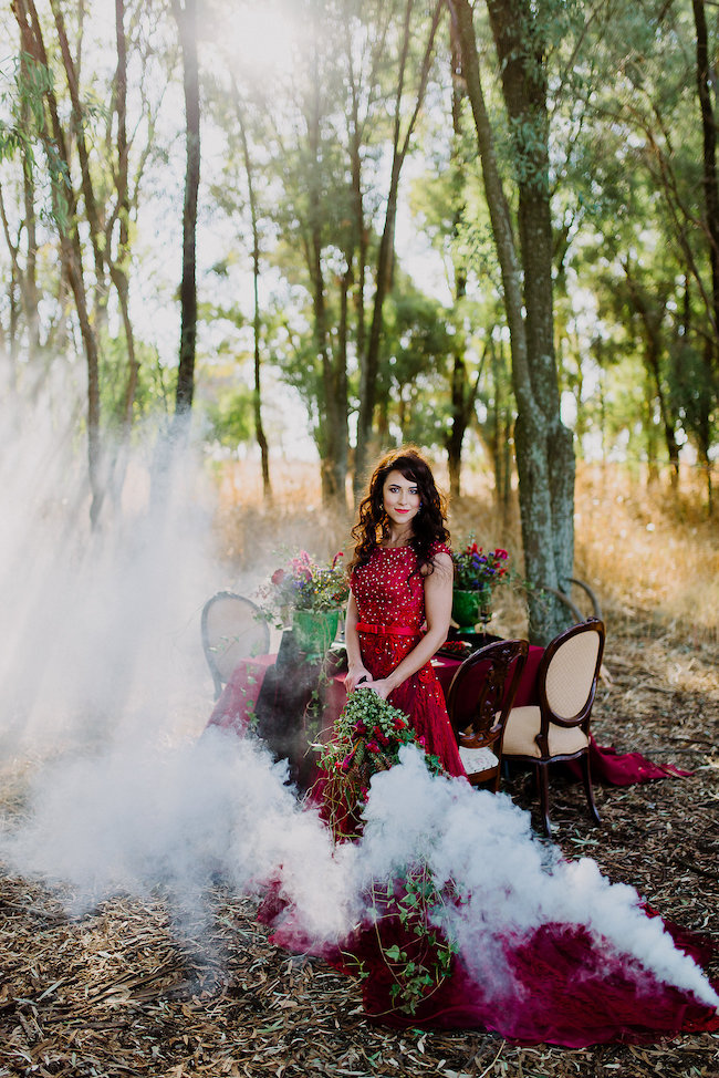 Dramatic Red And Black Forest Wedding Full Of Mystery Magic