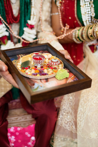Traditional Hindu Wedding Ceremony in Green and Gold