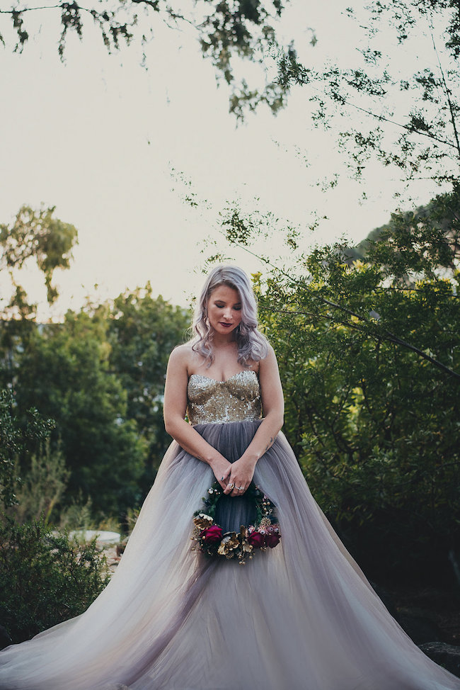 Alternative bride in gold purple wedding dress rocking lilac alternative bride gold purple wedding dress junglespirit Image collections