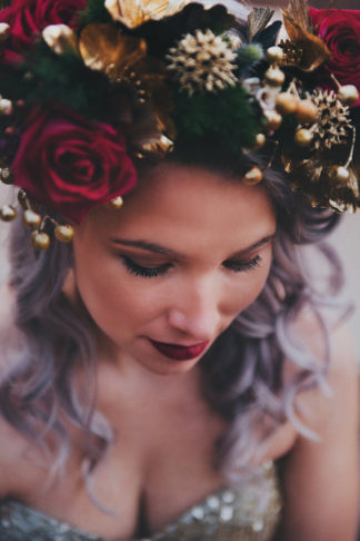 Alternative Gold Purple Wedding Dress Purple Hair