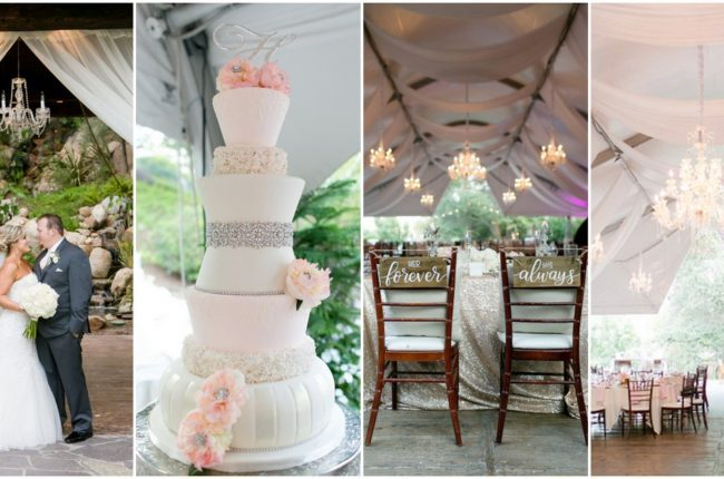 Glittery Outdoor Champagne and Blush Wedding {Leah Marie Photography}