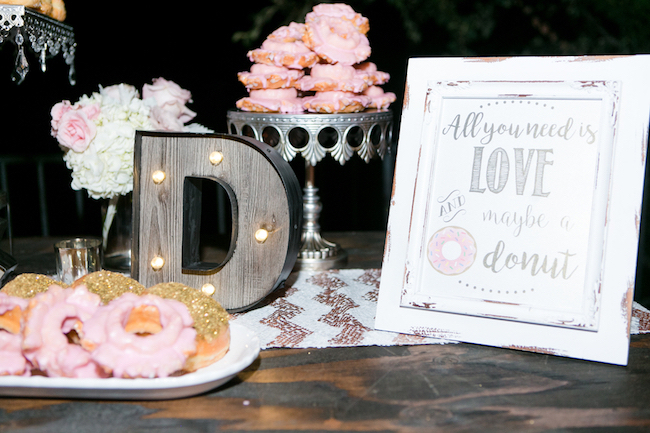 Champagne and Blush Wedding Donut Bar