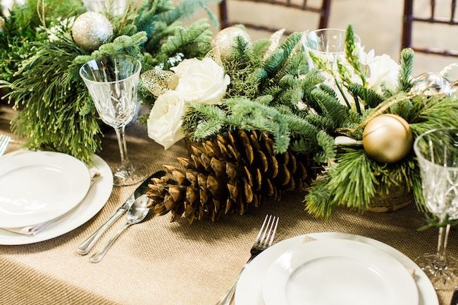 Natural Winter Holiday Wedding Tablescape Decor Ideas in Green and White - Alicia Wiley Photography & Intrigue Designs