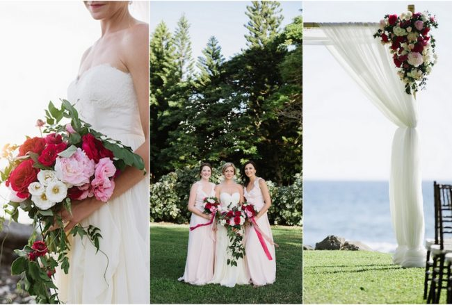 Romantic Fuchsia Blush + Cream Beach Wedding {Naomi Levit Photography}
