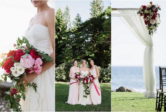 Romantic Fuchsia Blush + Cream Beach Wedding {Naomi Levit Photography}
