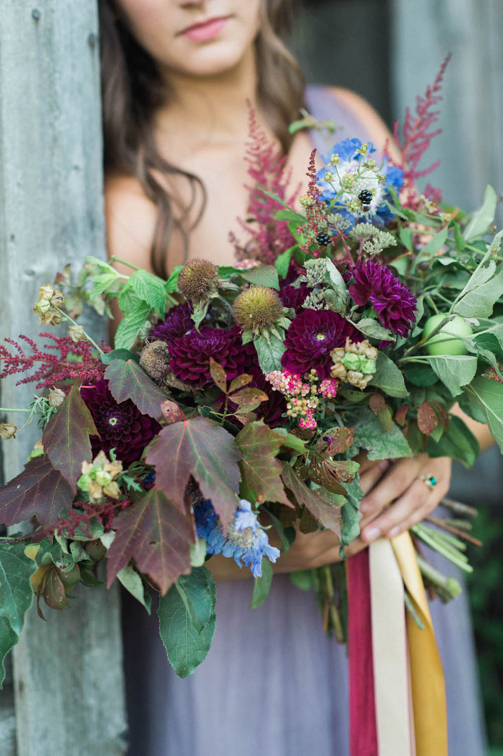 Purple and Gold Fall Wedding Bouquet