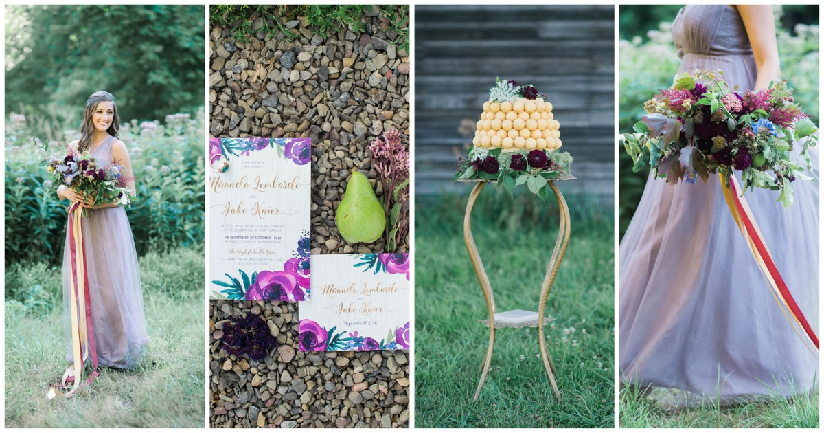 Purple and Gold Rustic Chic Wedding